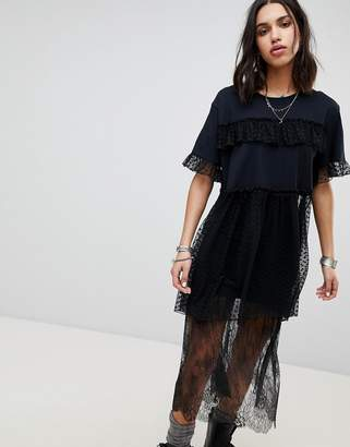 Anna Sui Chasing Hearts Mesh Oversized Top