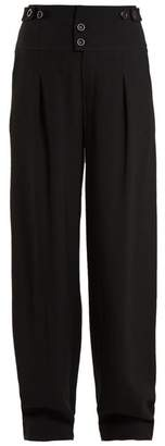 Chloé High Waist Wide Leg Crepe Trousers - Womens - Black