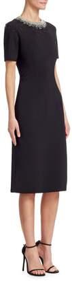 Ahluwalia Ginni Embellished-Neck Sheath Dress