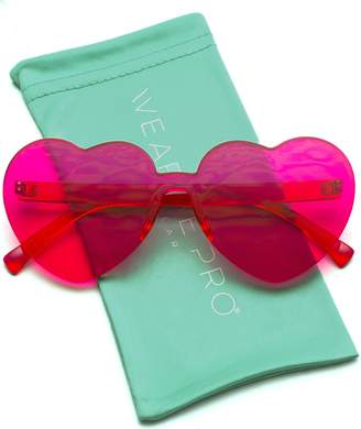 62f77745d4c WearMe Pro - Heart Shaped One Piece Transparent Full Colored Frame Candy  Sunglasses