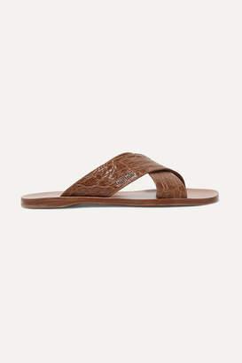 Miu Miu Croc-effect Leather Slides - Brown