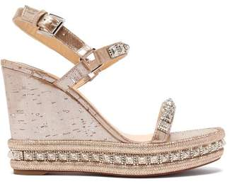 Christian Louboutin Pyradiams 110 Studded Cork Wedge Sandals - Womens - Silver Gold