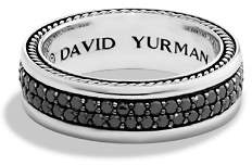 David Yurman Streamline Two-Row Band Ring with Black Diamonds