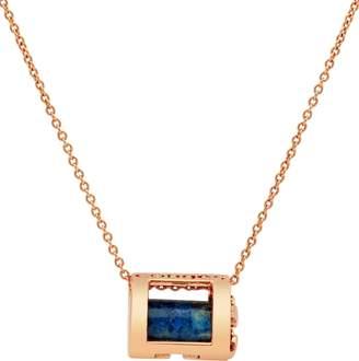 Lapis Conges Protection & Awareness Lazuli Initial Barrel Pendant Necklace
