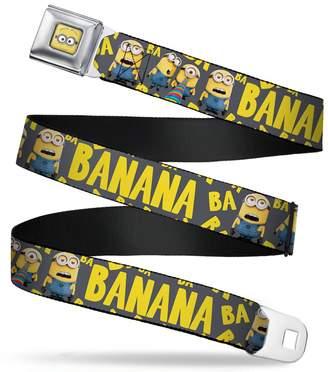 Buckle Down Minions Banana/ba Ba Scattered Gray/yellow Seatbelt Belt