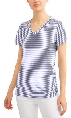 Generic Women's Essential Short Sleeve Vneck Flattering Ruched T-Shirt