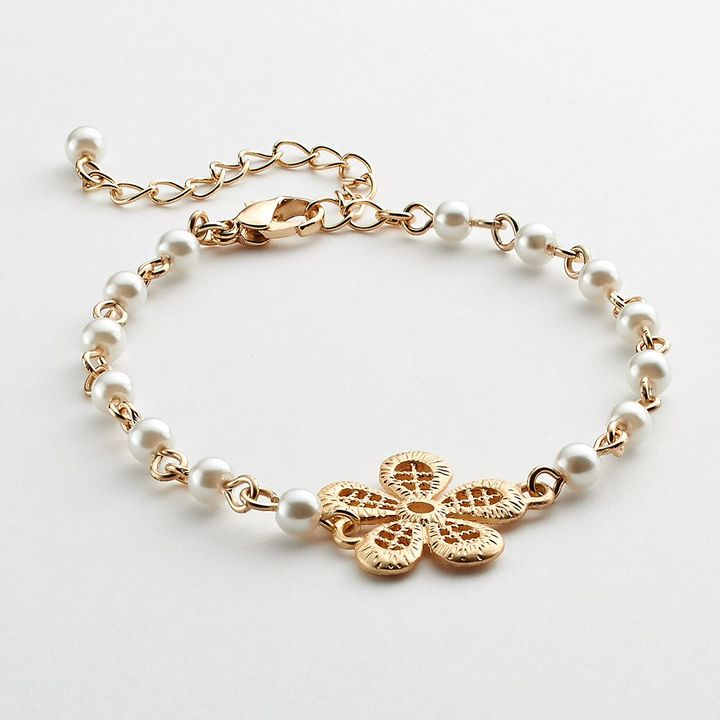 Lauren Conrad gold tone simulated pearl flower bracelet