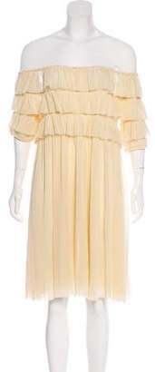 Jean Paul Gaultier Soleil Mesh Off-The-Shoulder Mini Dress
