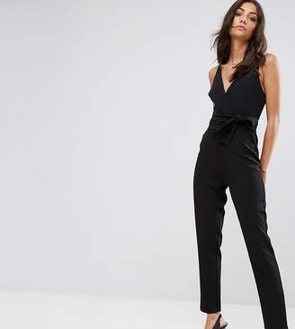 Asos Tall TALL Wrap Front Jumpsuit with Peg Leg and Self Belt