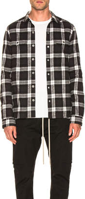 Rick Owens Cotton Plaid Outershirt in Black & Milk | FWRD