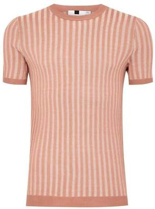 Topman Mens Pink Plaited Muscle Ribbed Sweater