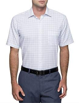 Van Heusen 2 Colour Grid Check Short Sleeve Classic Fit Shirt