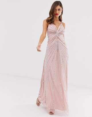 Frock and Frill twist front scatter sequin cami strap maxi dress