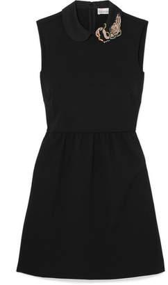 RED Valentino Embellished Crepe Mini Dress - Black