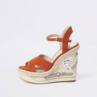River Island Womens Orange embellished espadrille platform wedges