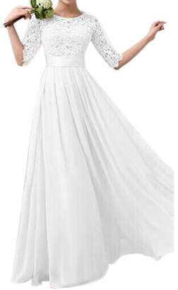 MiN New York Qiao Women's Floral Lace Half Sleeve Pleated Bridesmaid Party Maxi Dress Gown