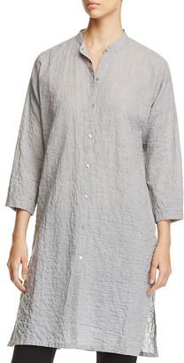 Eileen Fisher Organic Stretch Cotton Mandarin Collar Tunic $258 thestylecure.com