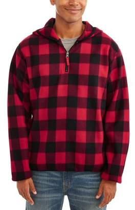 Buffalo David Bitton Generic Men's 1/4 Zip Plaid Print Microfleece Jacket, Up to Size 5XL