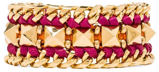 Ettika Leather Pyramid Cuff Bracelet