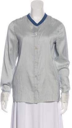 Golden Goose Silk Button-Up Long Sleeve Top