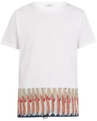 Valentino - Feather Print Cotton Jersey T Shirt - Mens - Red