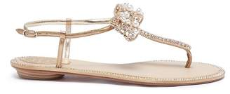 Rene Caovilla Bow embellished leather thong sandals