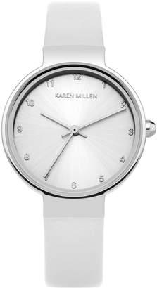 Karen Millen Silver-Tone & Leather Watch