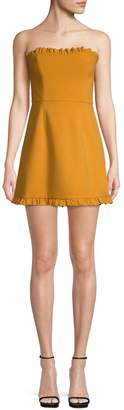 French Connection Ruffle-Trimmed Mini A-Line Dress
