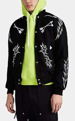 RHUDE Men's Embroidered Wool Varsity Jacket - Black