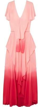 ATTICO Ruffled Dégradé Silk-Chiffon Gown