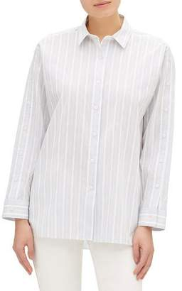 Lafayette 148 New York Trinity Striped Button-Front Blouse with Button Trim Detail