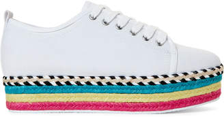 Betsey Johnson White Arbor Striped Platform Sneakers