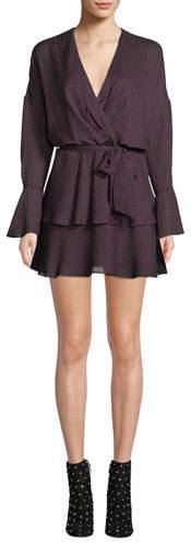 Joie Marcel Long-Sleeve Houndstooth Mini Dress