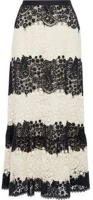 RED Valentino Two-Tone Cotton Guipure Lace Maxi Skirt