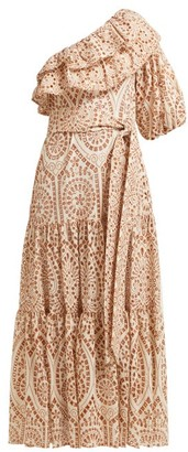 Lisa Marie Fernandez Arden Ruffled One Shoulder Cotton Dress - Womens - Orange Multi