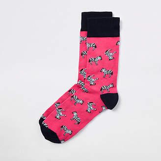 River Island Pink zebra print novelty socks