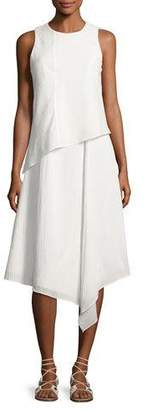 Rag & Bone Fernay Paneled Sleeveless Handkerchief-Hem Midi Dress, Bright White