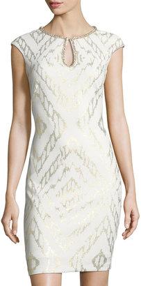 JAX Jewel-Embellished Sheath Dress, White/Gold $119 thestylecure.com