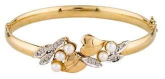 14K Pearl & Diamond Hinged Bangle