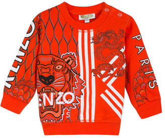 Kenzo Multi-Iconic Tiger & Dragon Graphic Sweatshirt, Size 6-18 Months