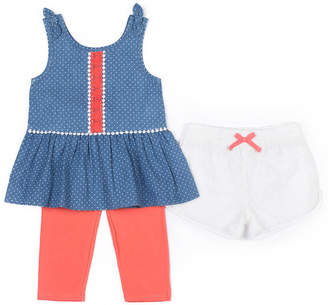Little Lass 3-pc. Chambray Dot Legging Set Baby Girls