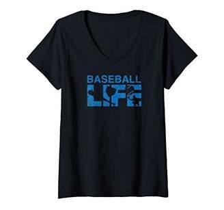 Womens Baseball Life | Funny Cute Graphic Baseball V-Neck T-Shirt