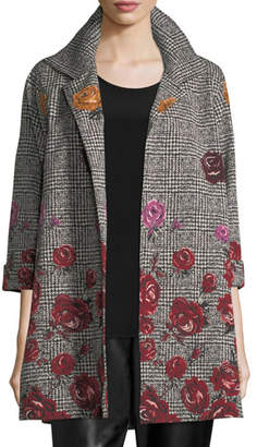 Caroline Rose Rose Plaid Jacquard Party Jacket