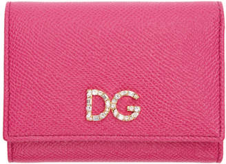 Dolce & Gabbana Pink Crystal Flap Wallet