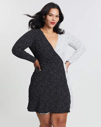 Wrap Front Polka Dot Dress