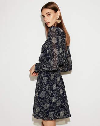 Express Print Smocked Waist Long Sleeve Mini Dress