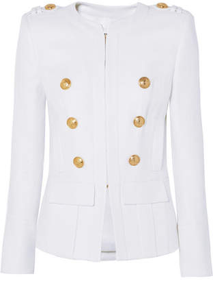 Balmain Button-embellished Woven Blazer - White