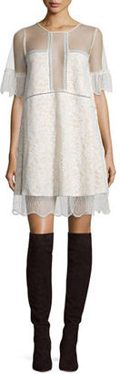 Kendall + Kylie Paneled Floral-Lace Babydoll Dress $228 thestylecure.com