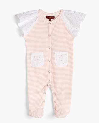 7 For All Mankind Girl's 0-9 Footie in Seashell Pink Stripe