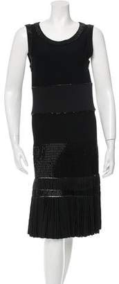 Alaia Sleeveless Beaded-Trimmed Dress